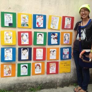 参加者の顔をコミック風に描いたオガちゃんの似顔絵、裏にはみんなからの一言が書いてあります